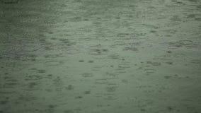 Поверхность воды с дождевыми каплями акции видеоматериалы