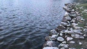 Поверхность и утесы озера сток-видео