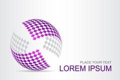 Поверхность логотипа стилизованная сферически с абстрактными формами Стоковая Фотография RF