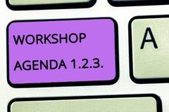 Повестка дня 1 мастерской текста сочинительства слова 2 3 Концепция дела для помощи для того чтобы обеспечить что событие остаетс стоковые изображения rf