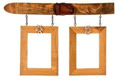 2 повиснули деревянные рамки фото Стоковое Изображение RF