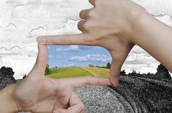 Поворачивать чертеж зрения в реальность Стоковые Фотографии RF