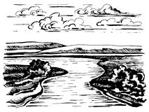 Поворачивать эскиз реки иллюстрация штока