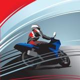Поворачивая гонщик мотоцикла на следе иллюстрация вектора
