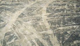 Поворачивая следы автошины Стоковое Изображение