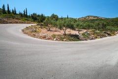 Поворот дороги горы, Закинфа, Греции Стоковые Фото
