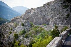 Поворот дороги в горах Стоковая Фотография