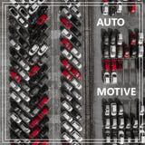 Повод слова автоматический над много автомобилей сверху Стоковые Фото