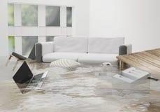 Повреждение затопленной воды должное к затоплять в доме 3d-illustratio иллюстрация штока