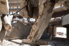 Повреждение от израильского бомбометания в Газа стоковые изображения