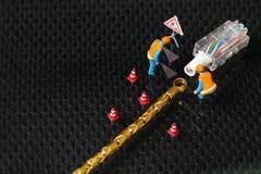 Поврежденная сцена кабеля lan Стоковые Изображения RF