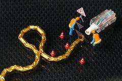 Поврежденная сцена кабеля lan Стоковые Фотографии RF