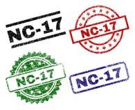 Поврежденные текстурированные штемпеля уплотнения NC-17 Иллюстрация вектора