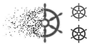 Поврежденный поставленный точки значок рулевого колеса корабля полутонового изображения бесплатная иллюстрация