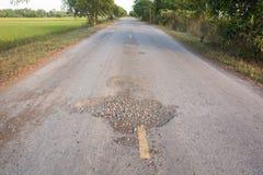 Повреждение дороги Стоковые Изображения