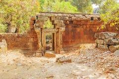 Поврежденное приложение, висок Prohm животиков, Angkor Thom, Siem Reap, Камбоджа стоковые фотографии rf