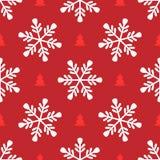 Повторение снежинок и силуэтов рождественских елок Простая безшовная картина для дизайна Нового Года бесплатная иллюстрация