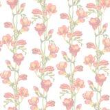 Повторенная пастельная картина Светлый флористический дизайн - весна разветвляет, красные freesias цветет Стоковое Изображение