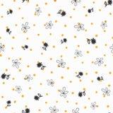 Повторенная скачками точка и цветки польки нарисованные вручную флористическая картина безшовная иллюстрация штока