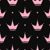 Повторенные кроны и звезды Girly безшовная картина иллюстрация штока