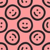 Повторенные милые smileys нарисованные вручную смешная картина безшовная Эскиз, Doodle Стоковые Фото