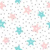 Повторенные округленные точки и звезды нарисованные вручную с грубой щеткой милая картина безшовная иллюстрация штока