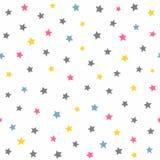 Повторенные покрашенные звезды Милая безшовная картина для детей бесплатная иллюстрация