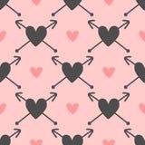 Повторенные сердца с стрелками милая картина безшовная Нарисовано вручную бесплатная иллюстрация