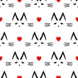Повторенные сердце и план головы ` s кота нарисованной вручную Милая безшовная картина для детей Стоковое Изображение