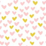 повторенные сердца Нарисовано вручную безшовное картины романтичное бесплатная иллюстрация