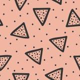 Повторенные треугольники и точка польки геометрическая картина безшовная Нарисовано вручную иллюстрация вектора