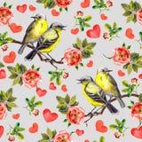 Повторенный цветочный узор с розами цветков, птицами песни, сердцами на день валентинки акварель Стоковое фото RF
