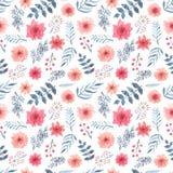 Повторите картину с листьями акварели голубыми, красными цветками и ягодами иллюстрация вектора