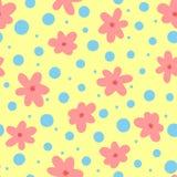 Повторять абстрактные цветки и круглые точки Милая флористическая безшовная картина для детей Нарисовано вручную иллюстрация штока