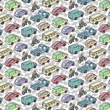 Повторяющийся картина с автомобилями перехода Стоковое Изображение RF