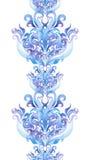 Повторяющ зиму граничьте рамку, нашивку ornamental акварели Стоковые Изображения RF