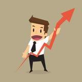 Повышение бизнесмена one диаграмма стрелки растущая Стоковое Изображение RF