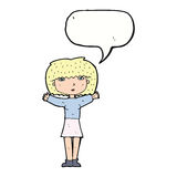 повышение женщины шаржа подготовляет в воздухе с пузырем речи Стоковые Изображения