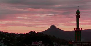 Повышение Солнця города холма kodaikanal стоковые изображения