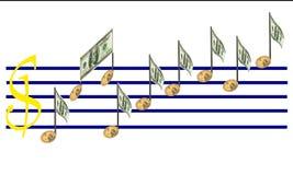 Повышение финансов музыкой доллара замечает диаграмму изолировано Стоковые Фото