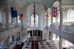 Повышенный внутренний взгляд исторической старой северной церков стоковое фото rf