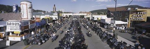 Повышенный панорамный взгляд главной улицы Стоковое фото RF