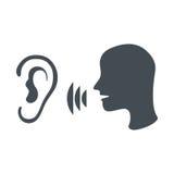 Поговорите и послушайте символ Стоковые Фотографии RF