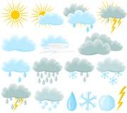 погода иконы установленная Стоковые Изображения