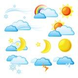 погода иконы установленная Стоковая Фотография