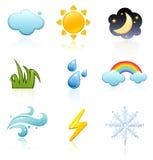 погода иконы установленная Стоковое Изображение