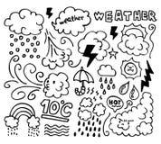 погода руки grunge чертежа установленная иконами Стоковое Фото