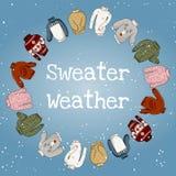 Погода свитера - фраза литерности сезона зимы руки вычерченная уютная в рамке свитеров иллюстрация вектора