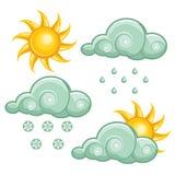 погода установленная иконами Стоковое Фото