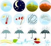погода 02 икон установленная Стоковая Фотография RF